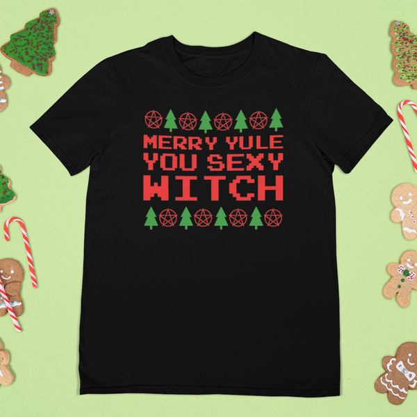 Merry Yule Sexy Witch Holiday Tee-tee-Kween Tees-Kween Tees