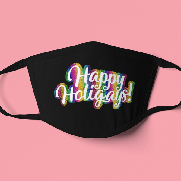 Happy Holigays Rainbow Holiday Mask-mask-Kween Tees-Kween Tees