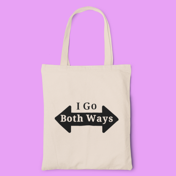 I go both ways tote-tote bags-Kween Tees 100% cotton tote with vinyl decoration
