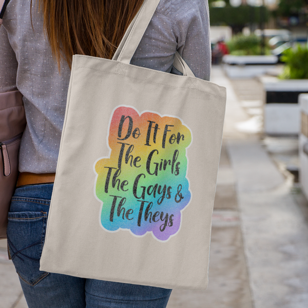 Girls Gays And Theys Full Glitter Tote-tote-Kween Tees-Natural-Kween Tees