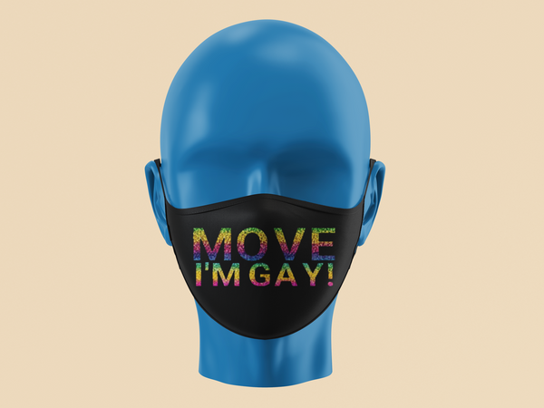 Move I'm Gay Mask-mask-Kween Tees-Rainbow Holographic-Kween Tees