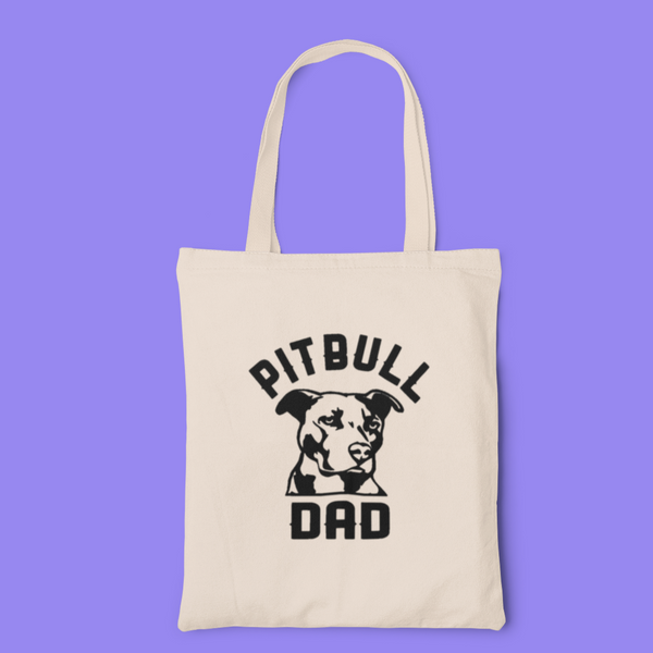 Pitbull dad tote-tote-Kween Tees 100% cotton tote with vinyl decoration