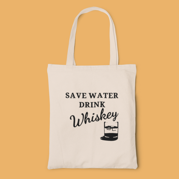 Drink whiskey tote-tote-Kween Tees 100% cotton tote with vinyl decoration