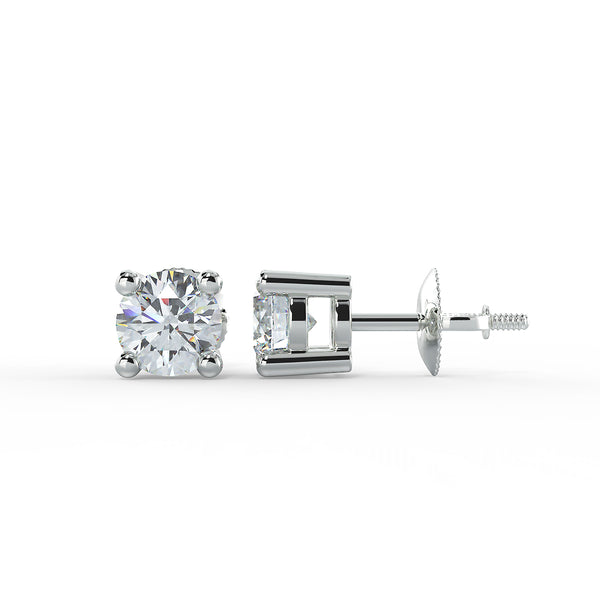 Eco 4 claw 1.00ct stud lab grown diamond earrings