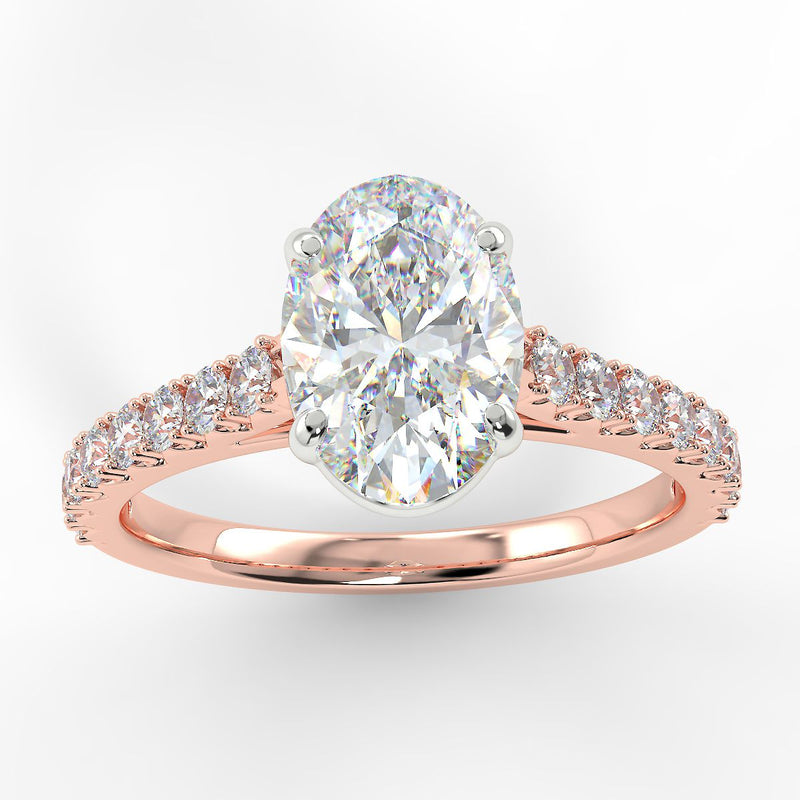 Eco 1 Oval Cut Side Diamond Ring