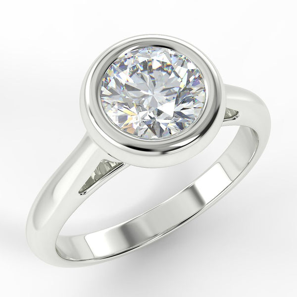 Eco 10 Round Brilliant Cut Bezel Solitaire Diamond Ring