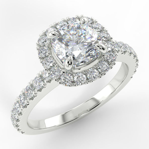 Eco 1 Cushion Cut Halo Diamond Ring