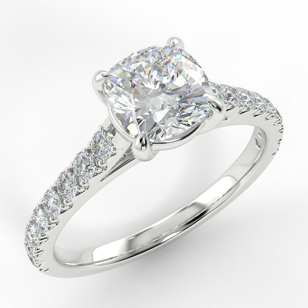 Eco 1 Cushion Cut Side Diamond Ring