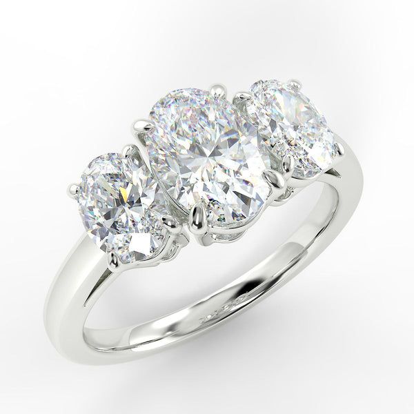 Eco 1 Oval Cut 3 Stone Diamond Ring