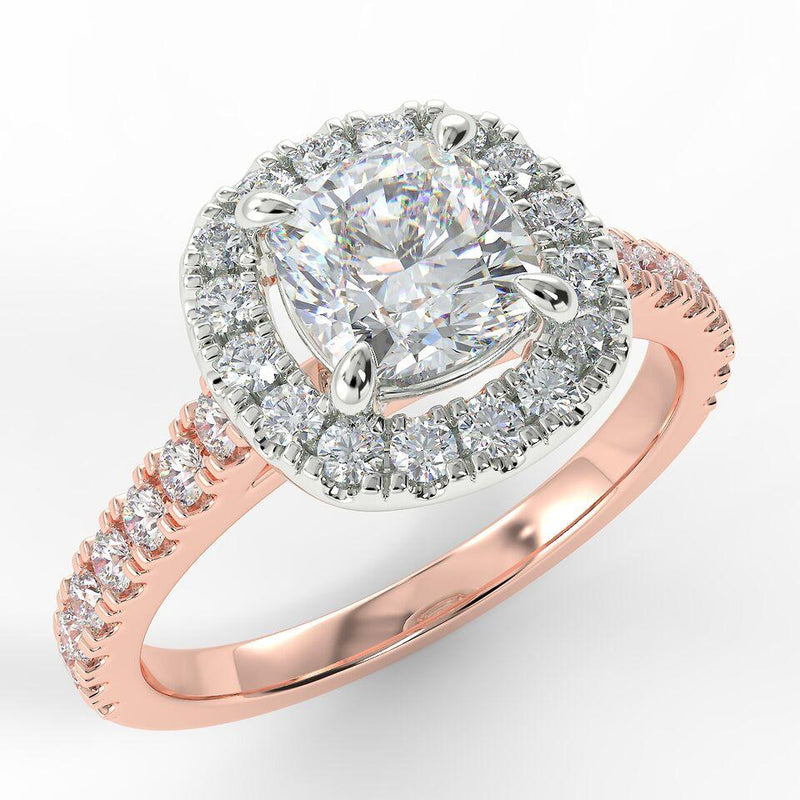 Eco 2 Cushion Halo Diamond Ring with 1.12-CARAT ROUND DIAMOND