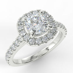 Eco 2 Cushion Cut Halo Diamond Ring