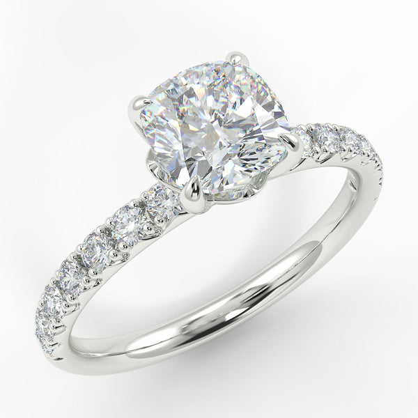 Eco 2 Cushion Cut Side Diamond Ring
