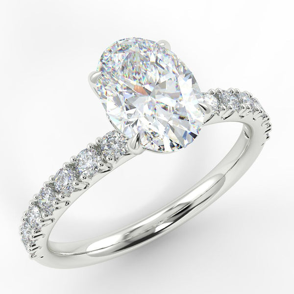 Eco 2 Oval Cut Side Diamond Ring