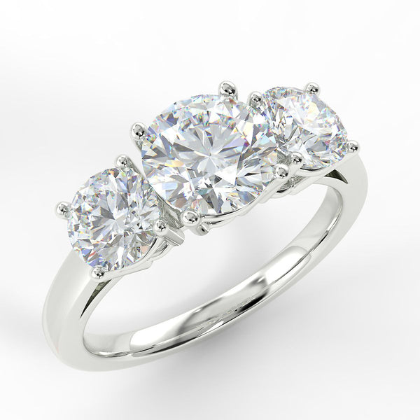 Eco 2 Round Brilliant Cut 3 Stone Diamond Ring