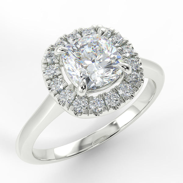 Eco 3 Cushion Cut Halo Diamond Ring