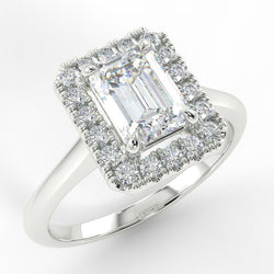 Eco 3 Emerald Cut Halo Diamond Ring