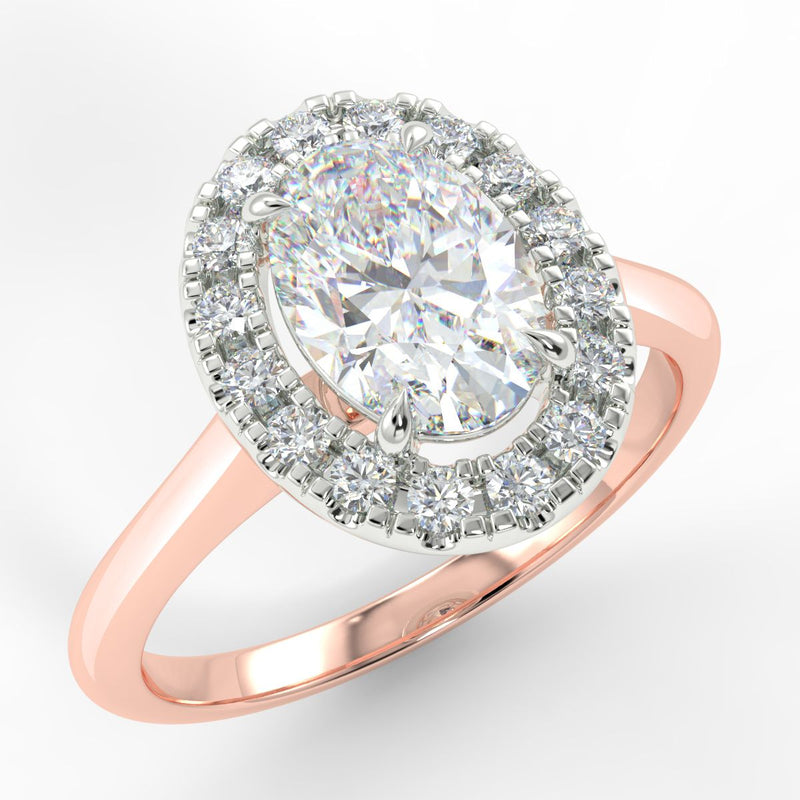 Eco 3 Oval Cut Halo Diamond Ring