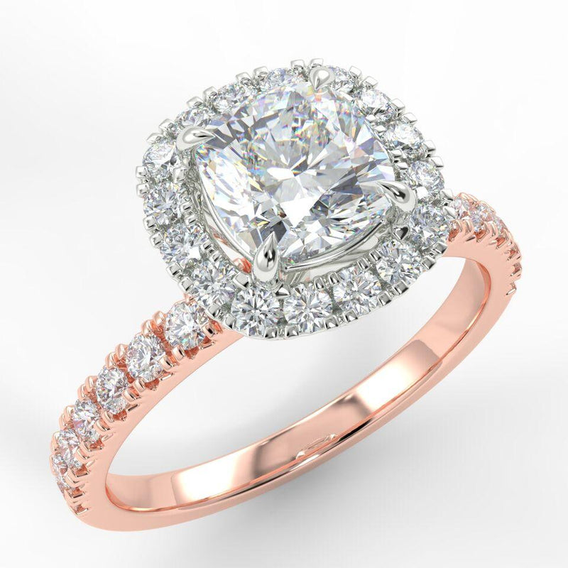 Eco 4 Cushion Cut Halo Diamond Ring with 0.5-CARAT Cushion DIAMOND