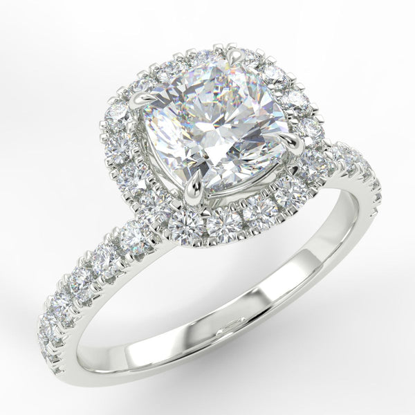 Eco 4 Cushion Cut Halo Diamond Ring