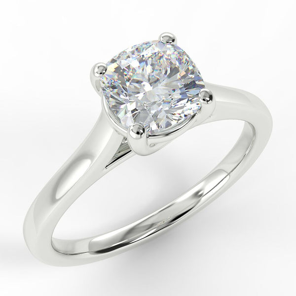 Eco 4 Cushion Cut Solitaire Diamond Ring