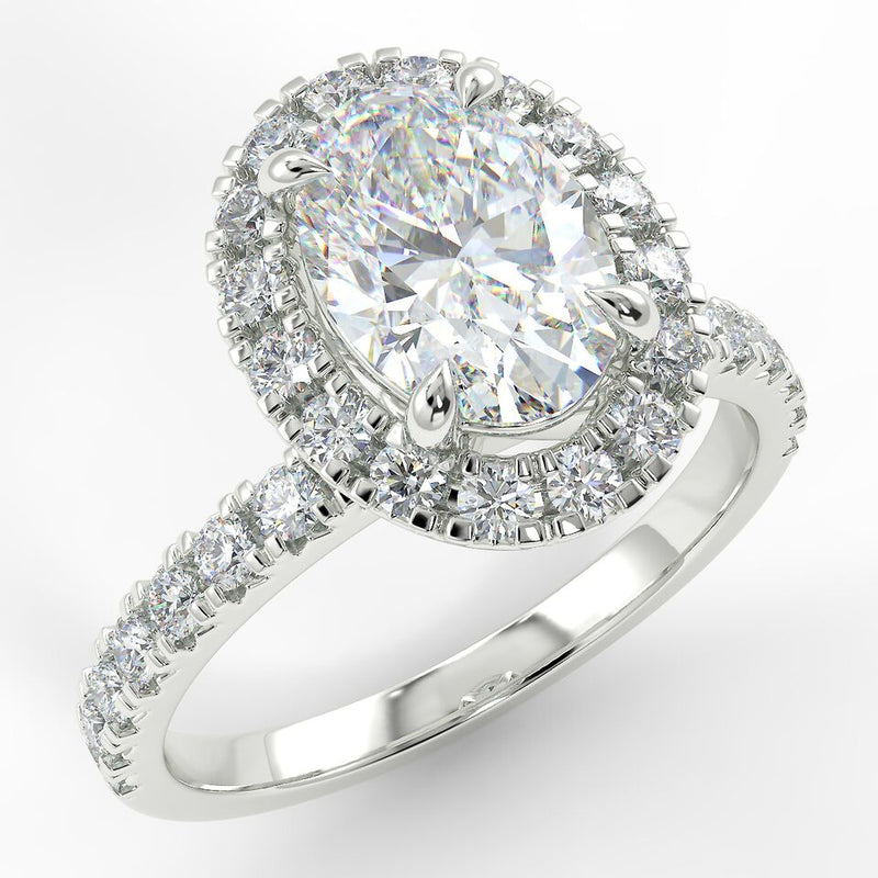 Eco 4 Oval Cut Halo Diamond Ring