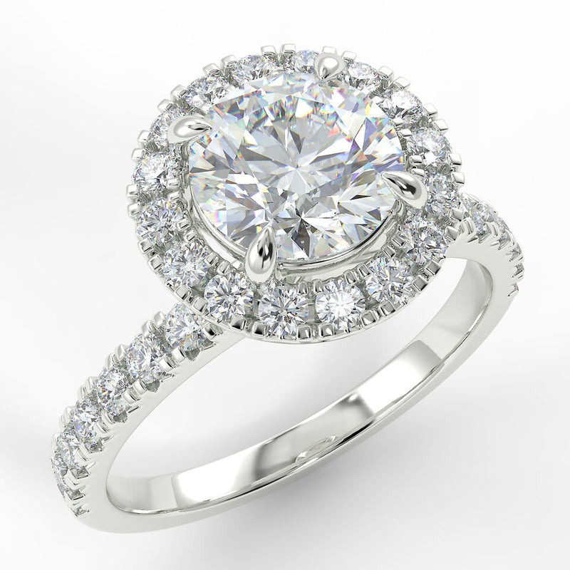 Eco 4 Round Brilliant Cut Halo Diamond Ring