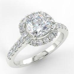 Eco 5 Cushion Cut Halo Diamond Ring