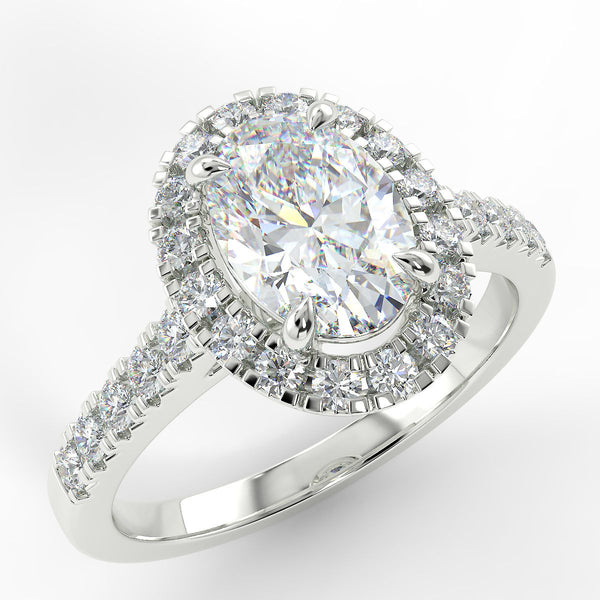 Eco 5 Oval Cut Halo Diamond Ring
