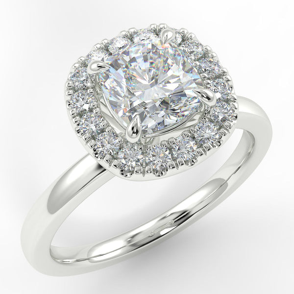 Eco 6 Cushion Cut Halo Diamond Ring