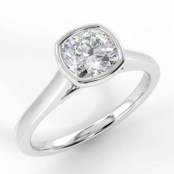Eco 6 Cushion Cut Solitaire Diamond Ring