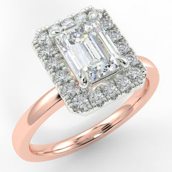Eco 6 Emerald Cut Halo Diamond Ring with 0.51-CARAT EMERALD DIAMOND