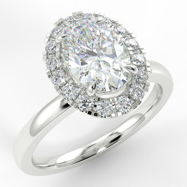 Eco 6 Oval Cut Halo Diamond Ring