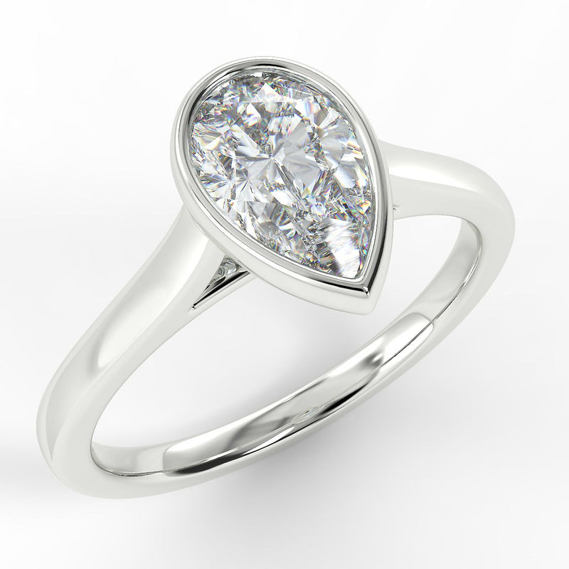 Eco 6 Pear Cut Solitaire Diamond Ring