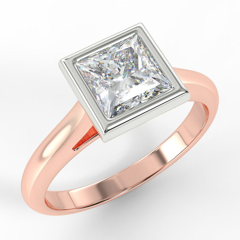 Eco 6 Princess Cut Solitaire Diamond Ring with 0.51-CARAT Pear DIAMOND