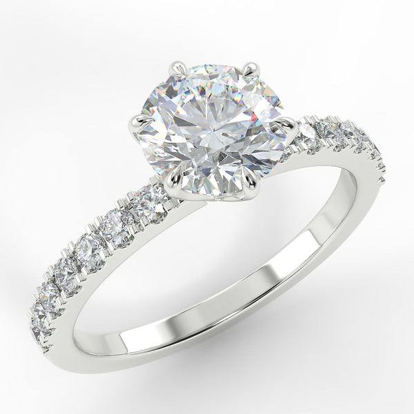 Eco 6 Round Brilliant Cut Side Diamond Ring