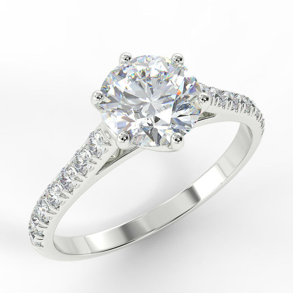 Eco 7 Round Brilliant Cut Side Diamond Ring