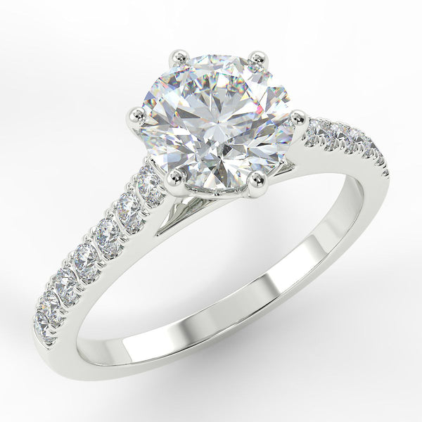 Eco 8 Round Brilliant Cut Side Diamond Ring