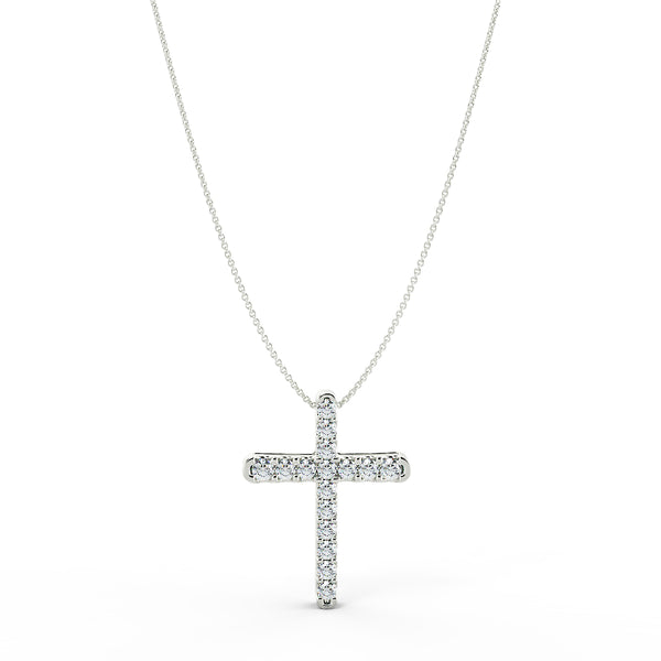 18ct gold lab grown diamond cross