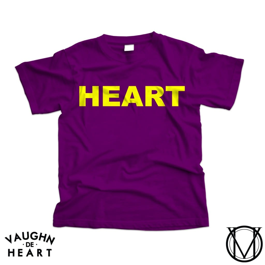 Vaughn de Heart Lakers Heart purple and gold T Shirt Mock up