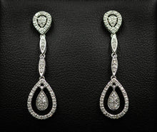 Load image into Gallery viewer, 14k White Gold and Diamond Earrings