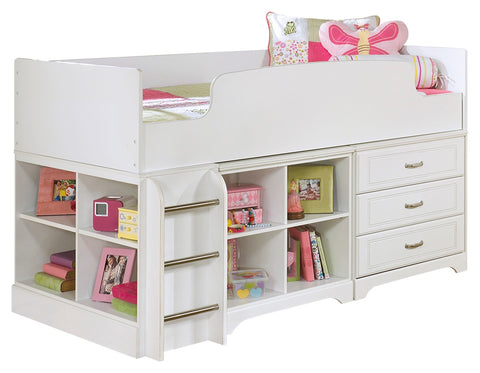 Signature Design by Ashley Lulu Twin Loft Bed with 3 Drawer Storage and Bookcase