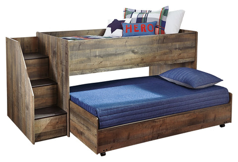 Signature Design by Ashley Trinell Twin Loft Bed with Pull-out Caster Bed