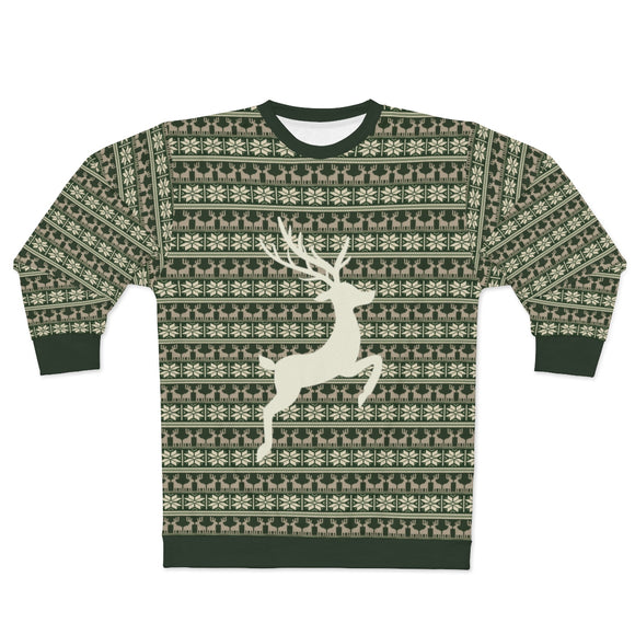 Green Reindeer Ugly Christmas Sweater