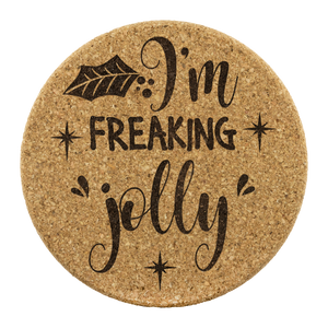 Freaking Jolly Cork Coaster (Set of 4)