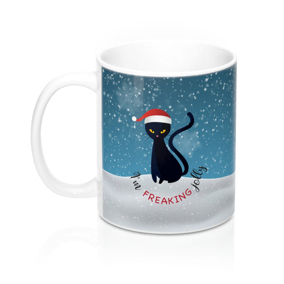 Freaking Jolly Black Cat Mug