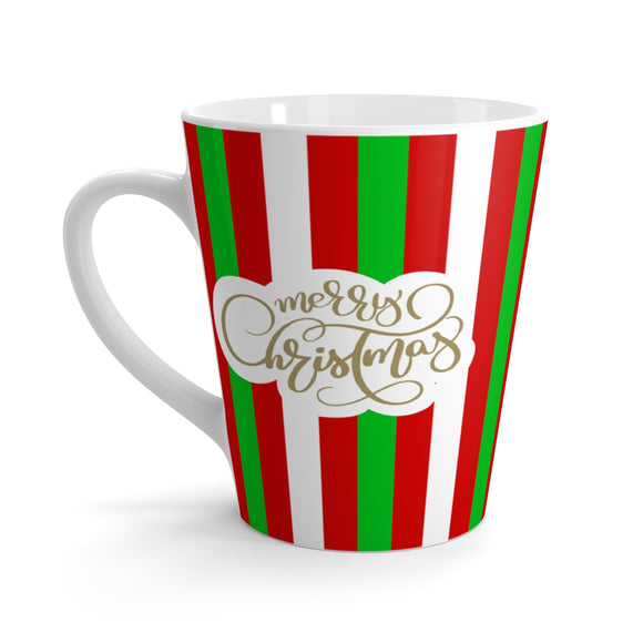 Striped Christmas Latte Mug