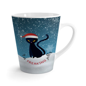 Freaking Jolly Black Cat Latte Mug