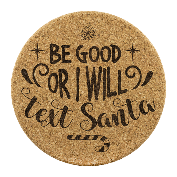 Text Santa Cork Coaster (Set of 4)