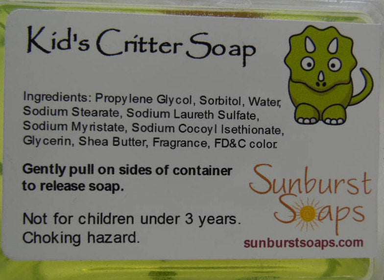 Kids Critter Soap - Horse, Butterfly, or Pig