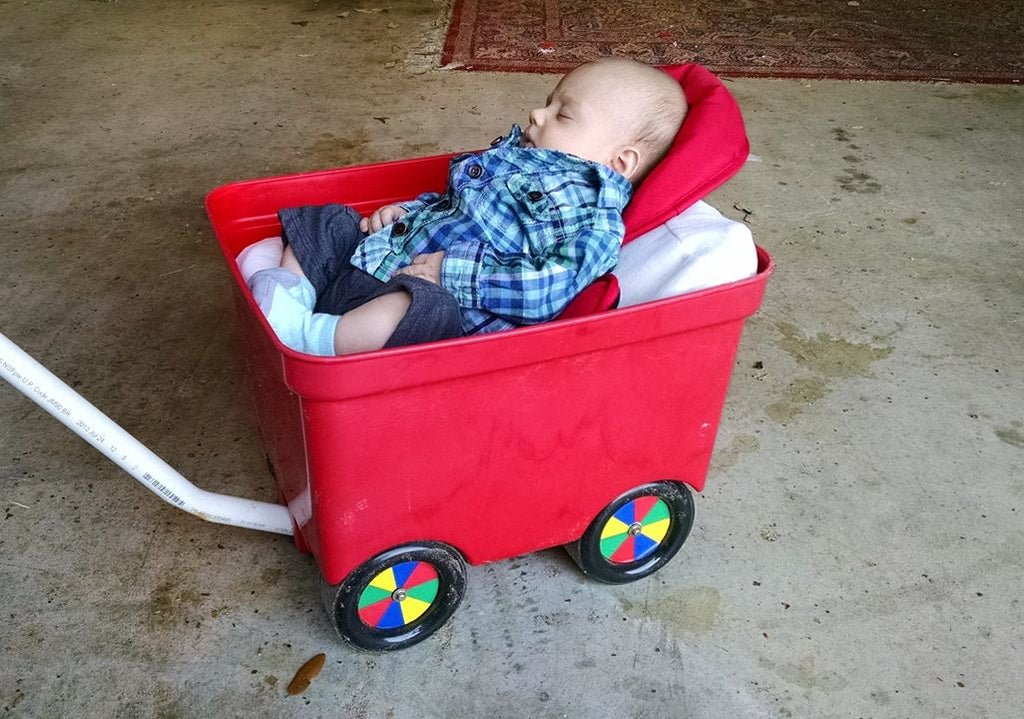 infant being pulled in a small wagon